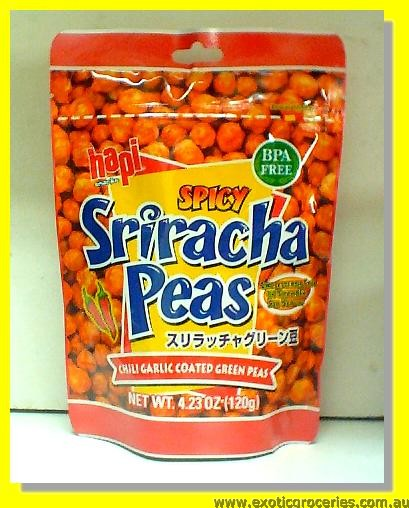 Spicy Sriracha Peas (Chili Garlic Coated Green Peas)