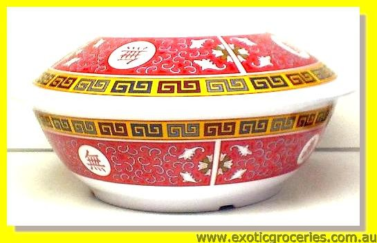 Red Melamine Bowl with Lid 8011TR