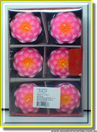 Lotus Flower Joss Candles 6pcs (6cm)