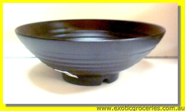 "Plastic Black Noodle Bowl (Ribbed) 10.5"" (WT5092)"
