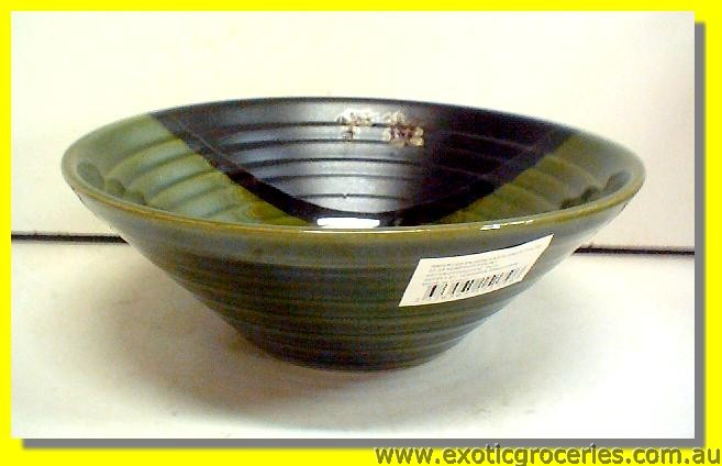 Ceramic Green Floral Bowl 7""