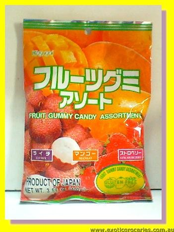 Fruit Gummy Candy Assortment (Lychee, Mango, Strawberry) Gluten