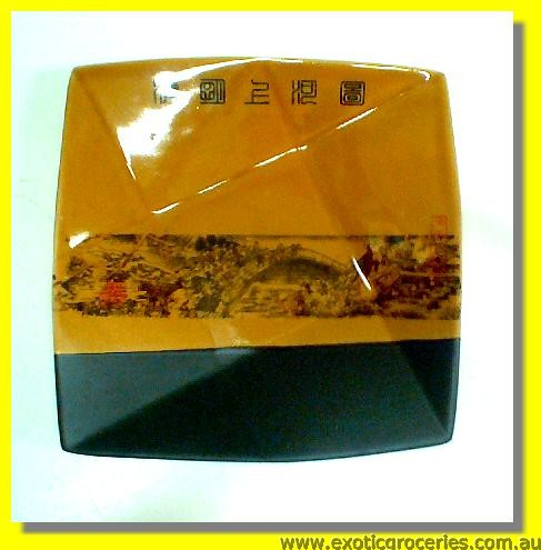 Yellow Qing Ming Square Plate 7""