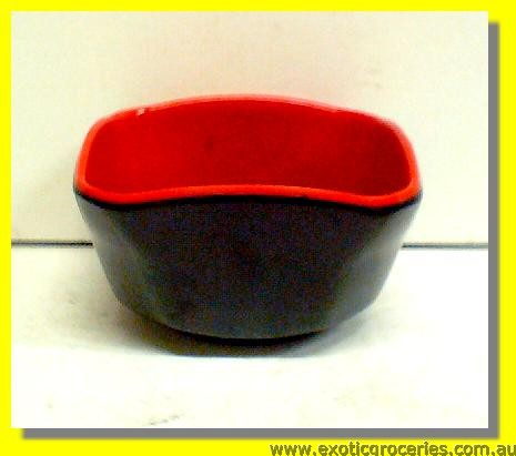 Red Black Square Bowl 8.5cm