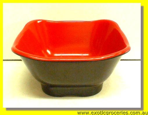 "Red Black Japanese Square Bowl 4.5"" G206"