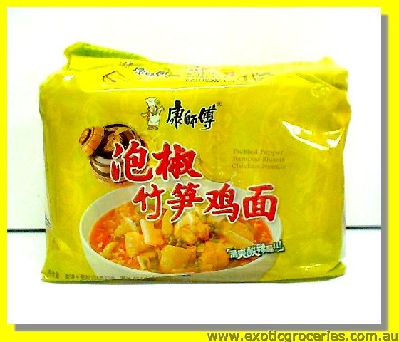 Instant Noodle Pickled Pepper Bamboo Shoots Chicken Flavour 5pkt
