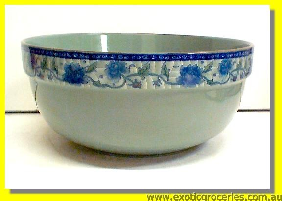 "Ceramic Blue Flower Bowl 8"" V350"
