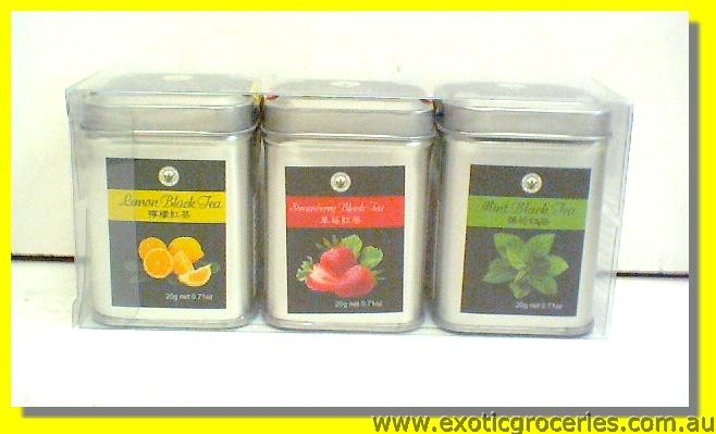 Assorted Flavour Black Tea (Lemon, Strawberry, Mint)