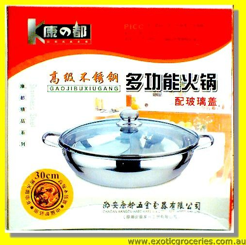 Stainless Steel Divided Hot Pot with Glass Lid 30cm