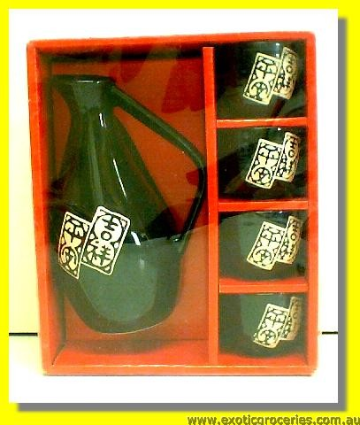 Chinese Writing Sake Pot Set 5pcs H401