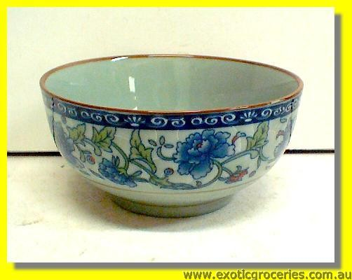 Ceramic Bowl Blue Floral 4.5""