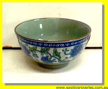Ceramic Blue Floral Bowl 3.75""