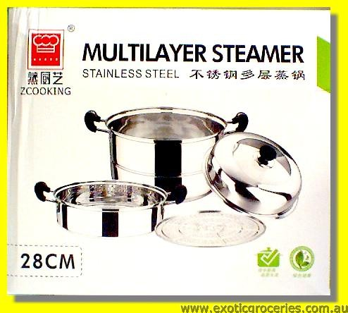 Stainless Steel 2 Tier Steamer 28cm