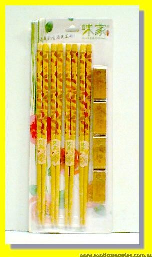 Bamboo Chopsticks 4pairs with Chopsticks Rests 4pcs