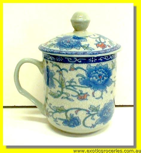 Blue Floral Mug with Lid