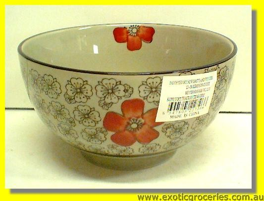 Japanese Style Red Blossom Bowl 6""