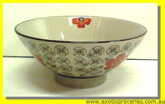 Japanese Style Red Blossom Bowl 7.25""