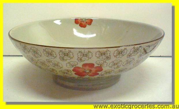 "Japanese Style Red Blossom Bowl 9.25"" H202"