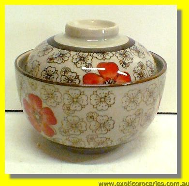 "Japanese Style Red Blossom Bowl with Lid 4.5"" Item# GS742"