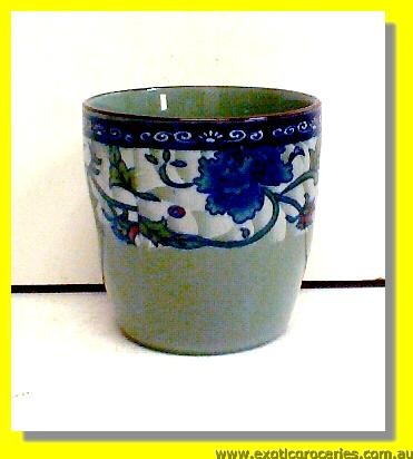 Ceramic Tea Cup Blue Floral