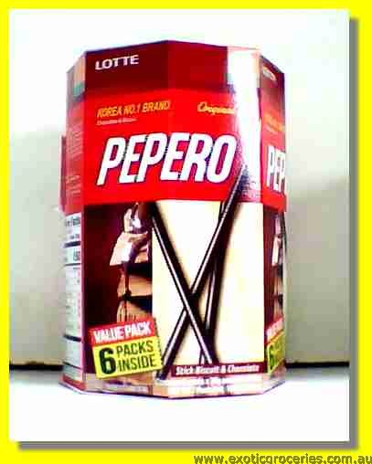 Pepero Chocolate Biscuit Sticks 6packs