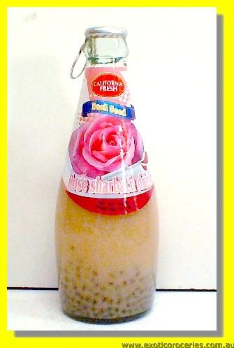 Rose Sharbath Drink with Basil Seed