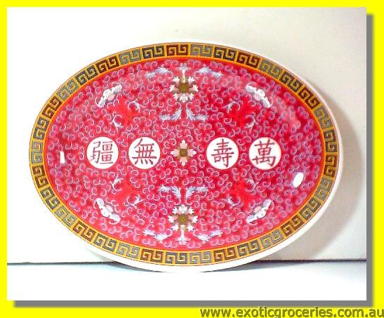 "Red Melamine Plate 10"" Oval Shape 2010"