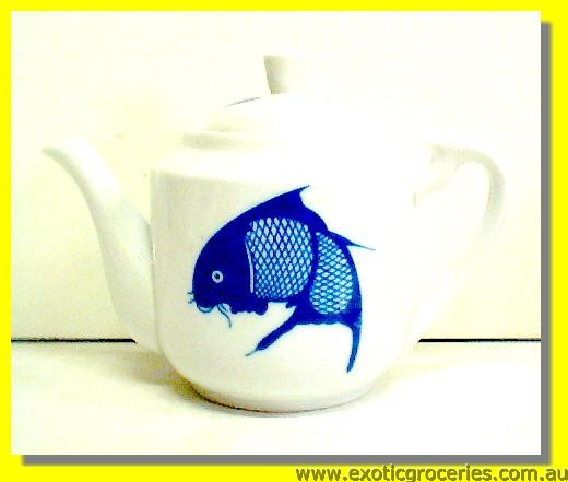 Blue Fish Tall Teapot #1