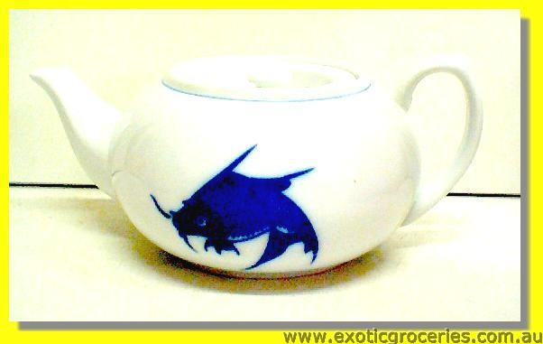 Blue Fish Persimmon Teapot #2