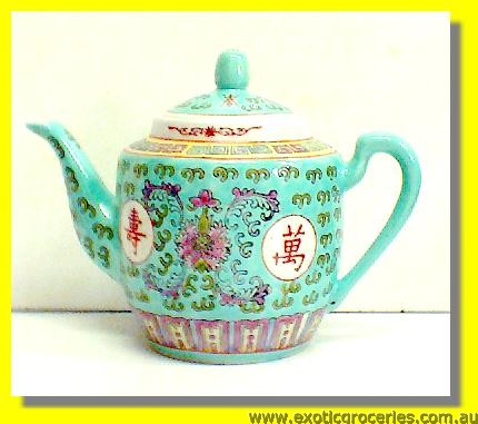 Green Longevity Tall Teapot 12cm #2