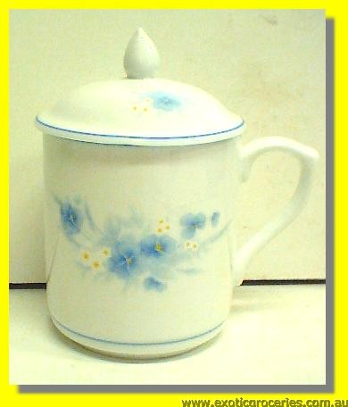 Blue Floral Tea Mug With Lid (HD174)