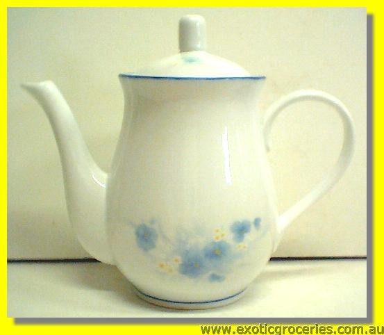 Blue Floral Tall Teapot 8''