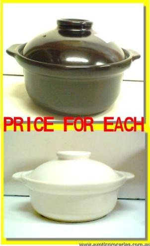 2 Handle Clay Pot Black 19CM QD2175