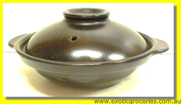 2 Handle Clay Pot Black 19cm QK2057