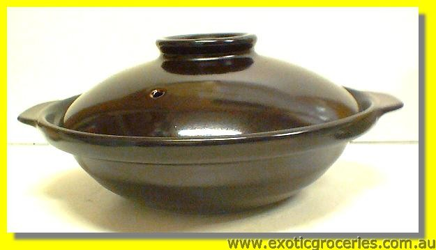 2 Handle Black Clay Pot 25CM QK2685