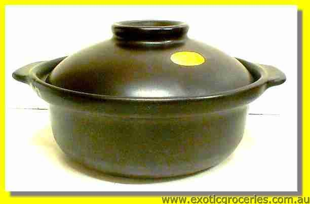 2 Handle Clay Pot Black 21cm QF2280