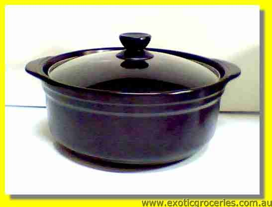 2 Handles Clay Pot Black 25cm QF2687