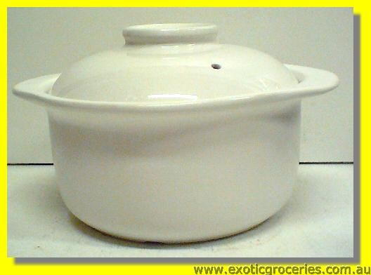 2 Handle Clay Pot White 23CM QA208