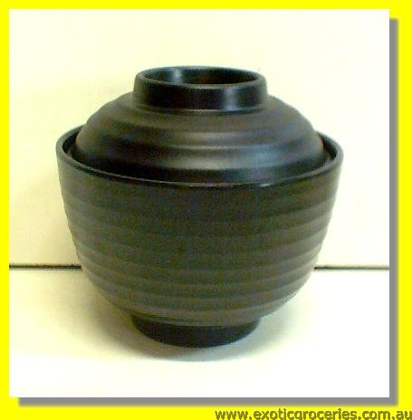 Black Miso Bowl with Lid 9.5cm E0J90