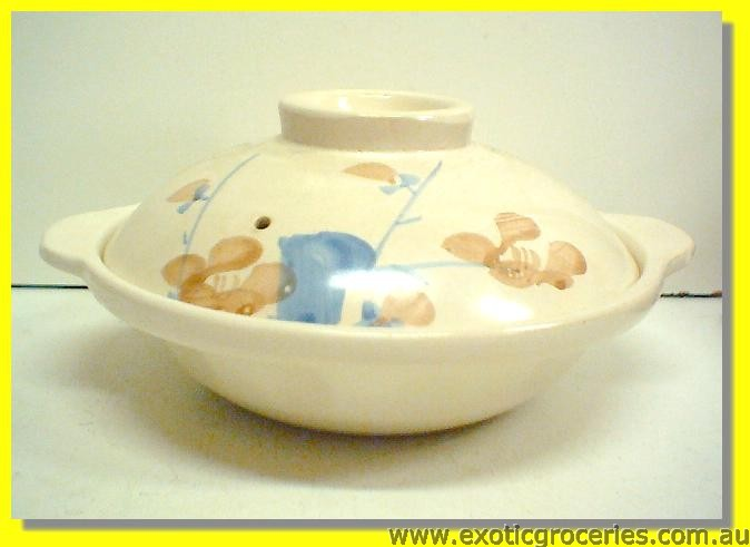 Blue Floral Casserole Clay Pot 22cm