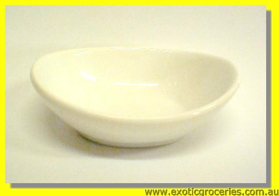 "White Egg Shape Saucer 3.8"" KD2030"