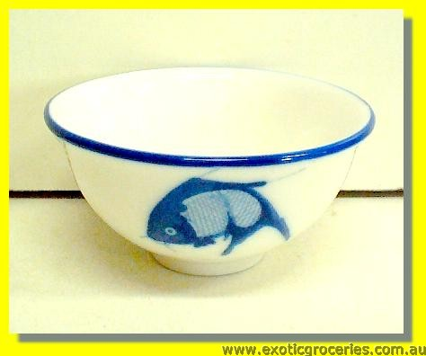 "A Grade Blue Fish Rim Bowl 3.5"" (C165-108)"