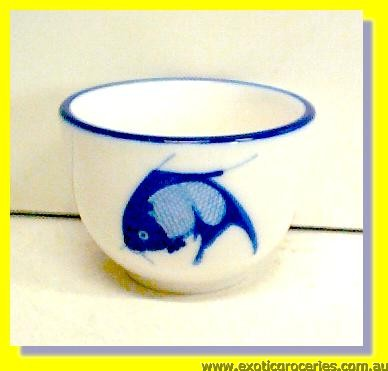 "A Grade Blue Fish Teacup 2.75"" (C165-054)"