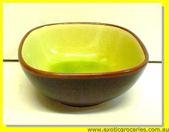 Japanese Style Black Green Square Bowl 10cm