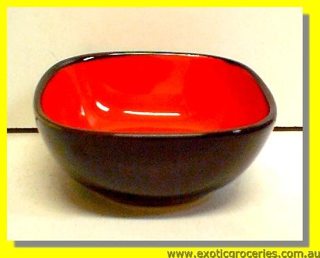 Black Red Square Bowl 10cm