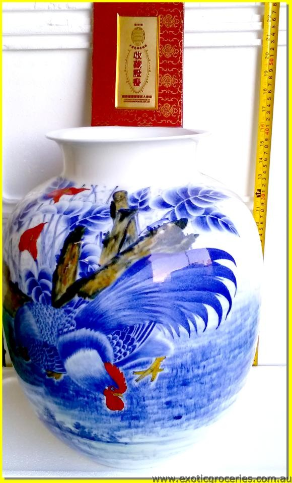 Blue Roosters Vase Large