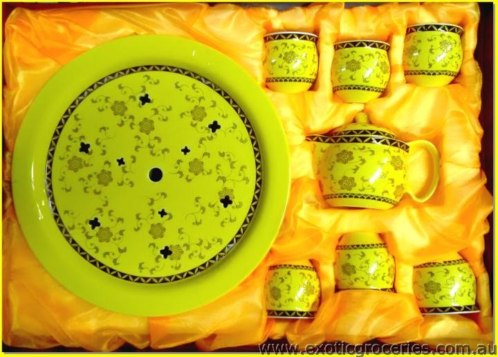Chinese Tea Set Yellow 8pcs