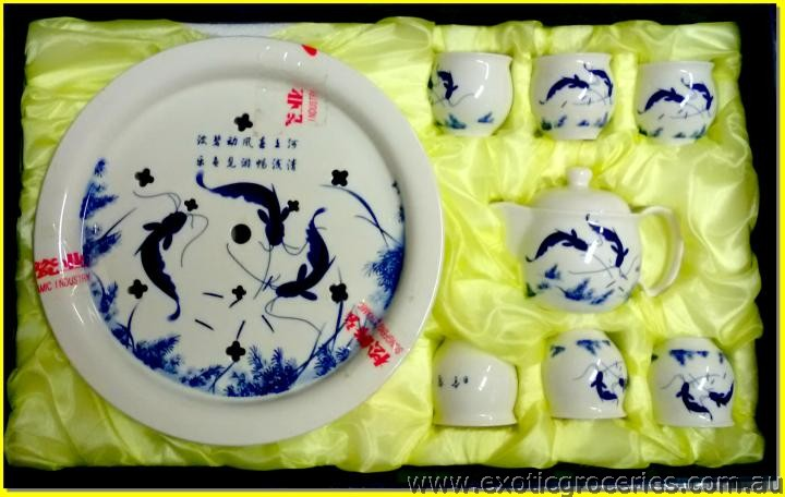 Chinese Tea Set Blue Fish 8pcs
