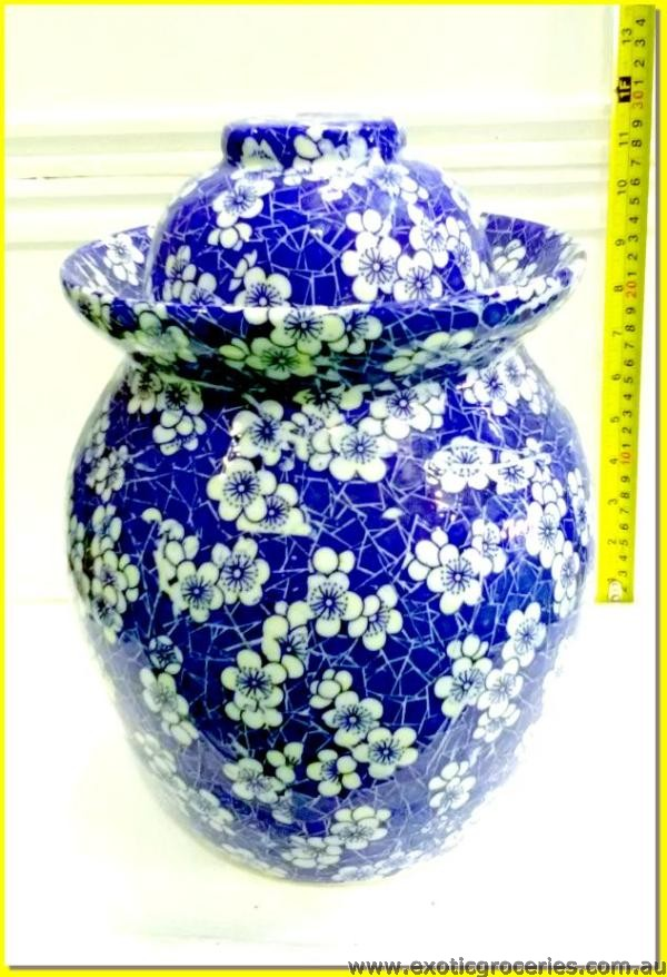 Chinese Pickle Pot Blue Floral