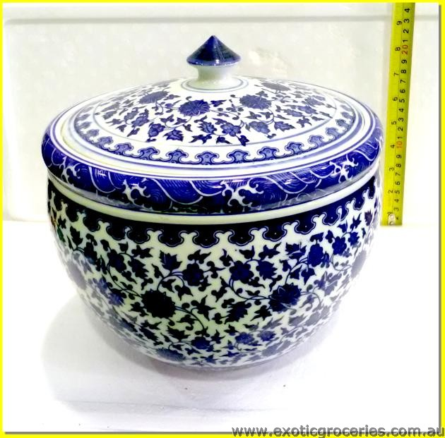 Chinese Pot with Lid Blue Floral